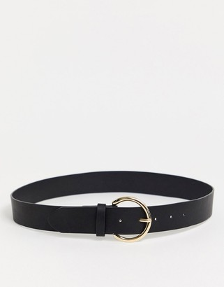 Glamorous waist and hip belt in black with gold minimal round buckle
