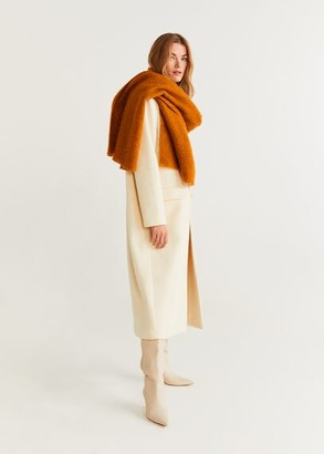 MANGO Wool scarf mustard - One size - Women