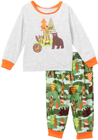 Komar Kids White & Green Outdoor Camping Long-Sleeve Pajama Set - Toddler