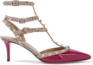 Valentino Rockstud Two-tone Smooth And Patent-leather Pumps