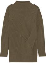 Rag & Bone Dale Twist-front Ribbed Merino Wool Sweater - Army green