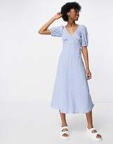 Thumbnail for your product : New Look puff sleeve midi tea dress in blue gingham