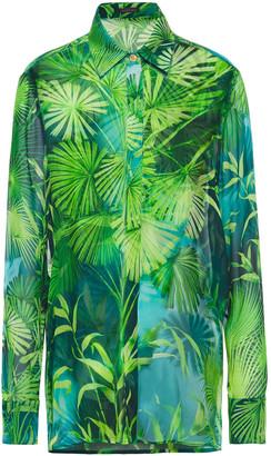 Versace Printed Silk-chiffon Shirt