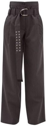 La Fetiche - Yves High-rise Pinstripe Twill Wide-leg Trousers - Grey