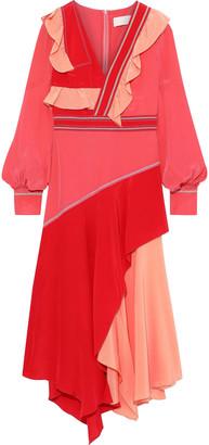 Peter Pilotto Asymmetric Draped Color-block Silk Crepe De Chine Midi Dress