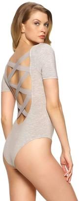 Felina Women's Loungewear Body Zone Modal Bodysuit with Low Back