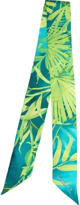Versace First Line Palm Leaf Print Silk Skinny Scarf