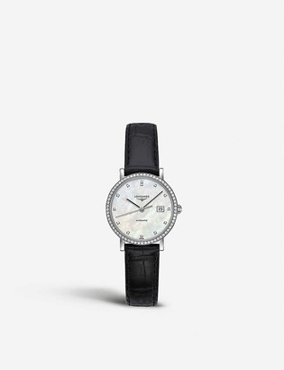 Longines L43090872 Elegant collection stainless steel mother of pearl and leather watch