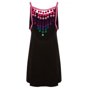 Pitusa Black Pom Pom Falls Dress - O/S - Black/Red