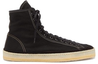 Lemaire Crepe-sole Canvas High-top Trainers - Mens - Black