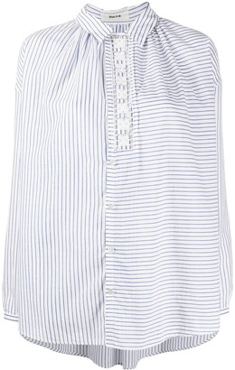 Zucca Lattice-Trimmed Striped Shirt