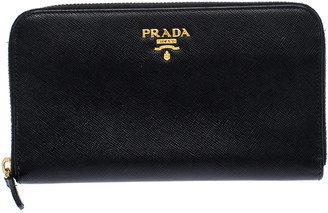 Prada Black Saffiano Metal Leather Zip Around Wallet
