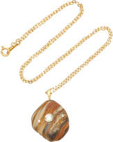 Cvc Stones Auburn 18K Gold Beach Stone and Diamond Necklace