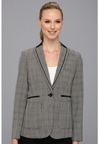 Vince Camuto Pleather Lapel Glen Plaid Blazer