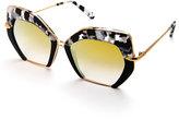 KREWE Sunglasses Octavia Geometric Two-Tone Sunglasses, Black