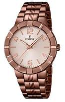 Festina Women's Quartz Watch with Grey Dial Analogue Display and Brown Stainless Steel Plated Bracelet F16715/1