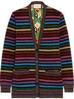 Gucci Metallic Striped Knitted Cardigan - Black