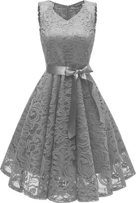 LA ORCHID Laorchid Vintage Women Lace Bridesmaid Dress Cocktail Party Dress V Neck Pink XL