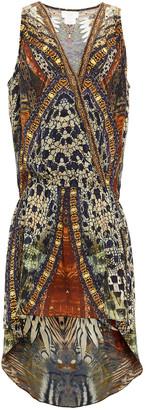 Camilla Asymmetric Embellished Printed Silk-georgette Dress