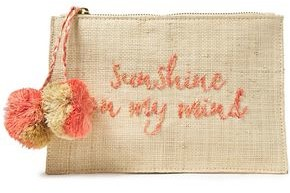 Kayu Pompom-embellished Embroidered Woven Straw Pouch