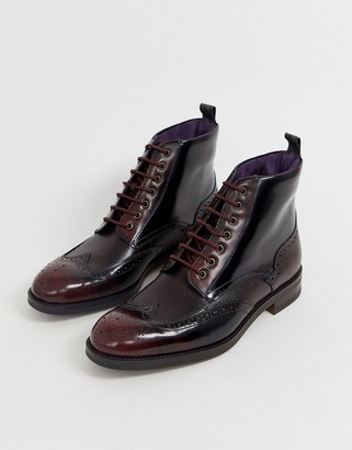 Ted Baker twrehs brogue boots in burgundy hi shine