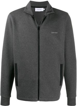 Calvin Klein Logo Print Zip-Up Sweatshirt