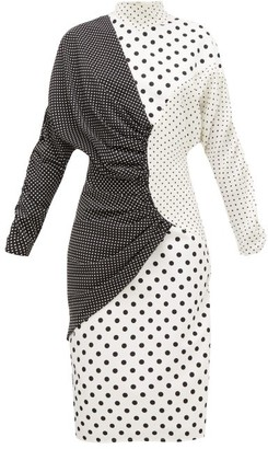 Rodarte Draped Polka-dot Faille Midi Dress - Black White