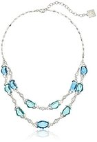"""Anne Klein Crystal Springs"""" Silver-Tone/Blue Tone Two Row Necklace, 16"""" + 3"""" Extender"""