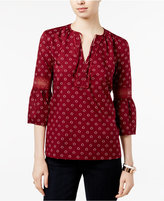 Tommy Hilfiger Daisy Printed Illusion-Lace Top