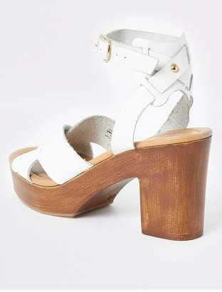 River Island Leather Cross Platform Heel Sandals - White