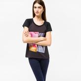 Paul Smith Women's Black T-Shirt With 'Flamingo Palm' Print