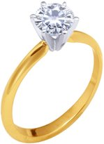 Brilliant! 18k Yellow-gold 6.50mm (0.88CT Actual Weight, 1.00CT Diamond Equivalent Weight) Moissanite Solitaire 6-Prong Engagement Ring by Vicky K Designs - 7.5