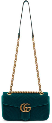 Gucci Blue Velvet Small GG Marmont Bag
