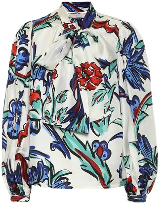 Tory Burch Tie-neck floral silk satin blouse