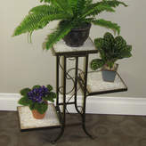 Fleur De Lis Living Noreen Multi-Tier Plant Stand with Travertine Top