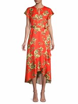 Ava & Aiden Floral-Print Belted Midi Dress