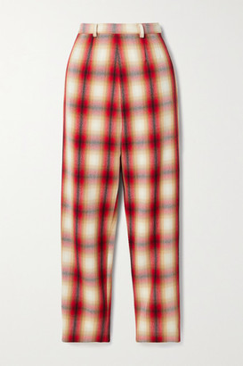 Rosie Assoulin Checked Wool-twill Straight-leg Pants - Red