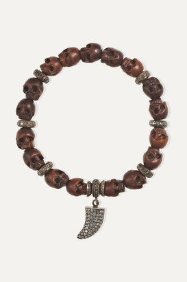 Loree Rodkin Oxidized Sterling Silver, Wood And Diamond Bracelet