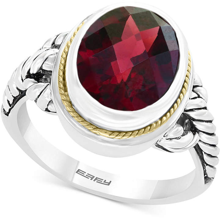 Effy Garnet Ring (3-9/10 ct. t.w.) in Sterling Silver & 18k Gold