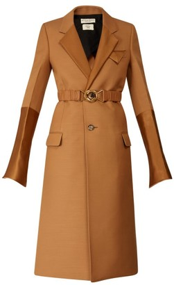 Bottega Veneta Contrast-panel Belted Single-breasted Coat - Womens - Camel