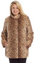 Plus Size Sebby Leopard Faux-Fur Coat