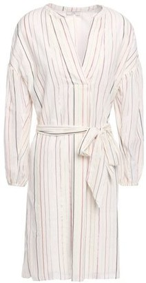 Joie Belted Metallic Striped Cotton-blend Gauze Mini Dress