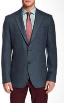 Ike Behar Blue-Grey Notch Lapel Two Button Wool Sportcoat