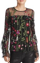 Red Carter Brianne Embroidered Top