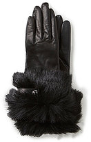 UGG Leather Tech-Capable Gloves with Shearling & Swarovski Cuffs