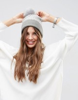 Asos Reverse Jacquard Faux Fur Pom Beanie