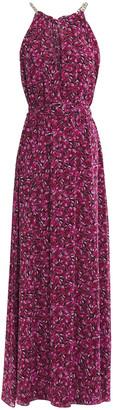 MICHAEL Michael Kors Chain-trimmed Printed Crepe De Chine Maxi Dress