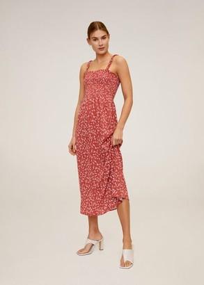 MANGO Printed long dress burnt orange - 6 - Women