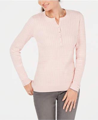 Karen Scott Petite Cotton Cable-Knit Henley Sweater