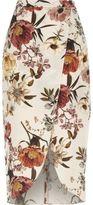 River Island Womens Cream floral print wrap front midi skirt